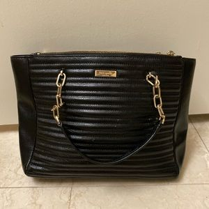 Kate Spade black shoulder bag with gold strap